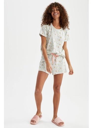 DeFacto Avokado Baskılı Relax Fit Pijama Takımı Gri